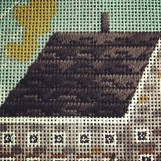 Garage roof I wish you could see this better. Another stitch suggestion from my Rent Amy Day. Too perfect! Main House roof T. Needlepoint Designs, Needlepoint Stitches, Embroidery Stitches, Embroidery Patterns, Needlework, House Siding, House Roof, Amy Day, Garage Roof