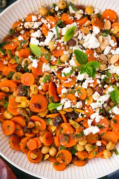 Moroccan Carrot Chick Pea Salad with Feta and Almonds - Cooking Classy