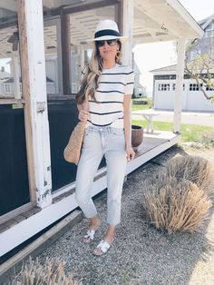 spring travel outfits 2019 - striped cable knit sweater and high waisted cropped jeans on pinteresting plans connecticut fashion blogger