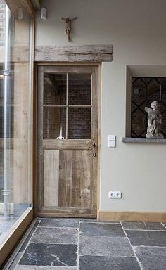 Eiken deur met glas, antieke Arduinen dallen