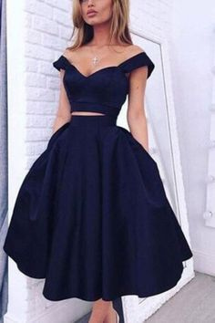 Short Prom Dresses, Homecoming Dresses,Elegant Two Pieces Off Shoulder Dark Navy Short Homecoming Party Dresses,SVD568