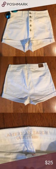 AEO white High waisted Jean shorts Gently used AEO white High waisted Jean shorts. Button up fly with stretchy material.  Women's size 6. Only worn a couple times!! Very minimal signs of wear, still in great condition!  White shorts are perfect for all your cute summer outfits! ❤️ Make offer! American Eagle Outfitters Shorts Jean Shorts