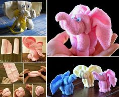 Elephant Washcloths - Cute for a baby shower gift or activity the shower! Accessoires Waschlappen Baby Washcloth Elephants The Cutest Gift For A Newborn Baby Shower Parties, Baby Shower Gifts, Shower Baby, Baby Party, Bouquet Cadeau, Towel Origami, Towel Animals, Baby Animals, How To Fold Towels