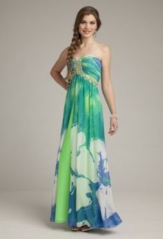 Prom Dresses 2013 - Chiffon Print Long Grecian Prom Dress from Camille La Vie and Group USA