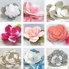 fiori pannolenci, foglie feltro, sagome fustellati roselline piccole e rose, per bomboniere decorazioni fai da te
