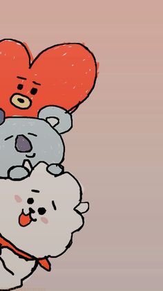 by BTS lockscreen wallpaper tata koya rj Wallpaper Animes, Kawaii Wallpaper, Cute Wallpaper Backgrounds, Cute Cartoon Wallpapers, Galaxy Wallpaper, Bts Wallpaper, Iphone Wallpaper, Kpop Drawings, Line Friends