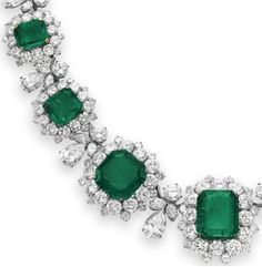 Detail: Necklace from Elizabeth Taylor's Bulgari emerald and diamond suite, circa 1962. Via Diamonds in the Library.
