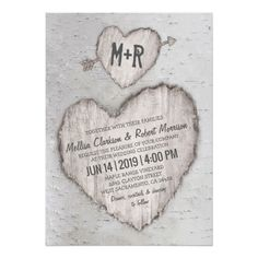 #rustic #wedding invitations featuring a woodland silver birch tree with a carved heart featuring your wedding day details and initials.