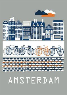 Amsterdam Poster by Doro, illustration, grey, navy, orange, city, cycle, bike, houses, street, travel