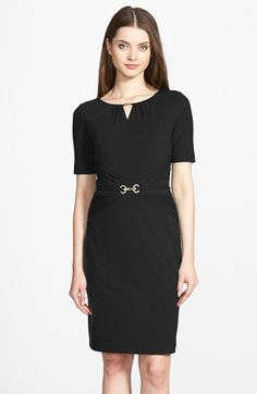 Free shipping and returns on Ellen Tracy Embellished Pleated Jersey Sheath Dress (Regular & Petite) at Nordstrom.com. Gleaming hardware draws attention to the pleated keyhole and flatteringly detailed waistline of this fitted yet comfortably stretchy dress, which transitions well from desk to drinks.
