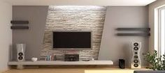 Stone wall and decoration living room tv wall decor, modern tv wall, Wall Unit Designs, Tv Wall Design, Ceiling Design, House Design, Tv Cabinet Design, Living Room Tv, Living Room Modern, Living Room Designs, Stone Wall Living Room