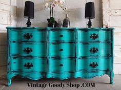 like the idea of curvy dresser refinished in modern colors for buffet or dresser Teal French Provincial Dresser / Buffet by TheVintageGoodyShop Turquoise Furniture, Blue Furniture, Refurbished Furniture, Furniture Makeover, Cool Furniture, Painted Furniture, Home Design, Interior Design, French Provincial Furniture