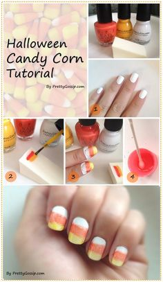 Cany Corn Nail Art <3 (I've done this! Try filing your nails to a point to create more of the candy corn effect!)