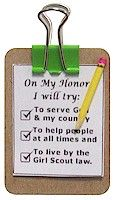 Mini Girl Scout Clip Board SWAP Craft  These tiny little clip boards hold a checklist to remind us about the the Girl Scout promise.     You Need:    Cardboard   Clip Board Printable   Small Clip (From Office Supply Store)   Skewer   Markers   Jewelry Craft Pin   Scissors   Tacky Glue