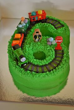 number six cake with train - Google Search