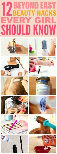 These 12 beyond easy beauty hacks every girl should know are THE BEST! I'm so glad I found these GREAT tips! Now I have some cool tricks to try! Definitely pinning for later!