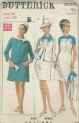 An unused original ca. 1968 Butterick Pattern 4855.  Misses' and Women's Dress & Jacket -  Slightly A line dress with oval neckline, has contrast front and back yoke and short sleeves. Slightly fitted cardigan jacket has seven eighths length sleeves and contrast collar.