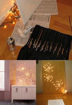 Create constellation art with string lights and a canvas
