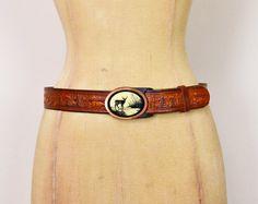 #Vintage #70s Brown #Leather #Belt Tooled Leather Carved #Deer #Hunting #Brass Belt Buckle 70s Belt 70s #Hippie Belt #Hippy Belt #Boho Belt Women 29 #TooledLeather #Etsy #EtsyVintage #TrashyVintage @Etsy $38.00