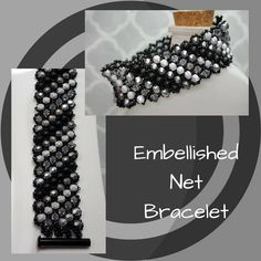 Black & Silver Embellished Netted Bracelet, MADE TO ORDER, Czech Fire Polish Bracelet, Swarovski Bicone Bracelet, Gift for Her by SHBeadCreations on Etsy