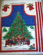 Joan Kessler Concord's Carolers Bear Christmas Tree Apron Panel - CUT & SEW