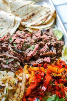 SKIRT STEAK FAJITAS - For the marinade: 1/3 c. soy sauce, 1/3 c. fresh squeezed lime juice, 1/3 c. canola oil, 3 cloves of garlic, minced, 1-2 T. brown sugar, 1 t. cumin, 1 t. chile powder. http://www.allaboutallaboutallabout.com/