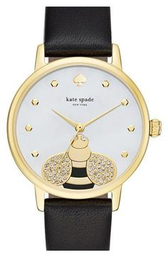 kate spade new york 'metro - bee' leather strap watch, 34mm available at #Nordstrom