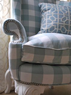soft blue and white buffalo check wing chair