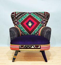 Suzani armchair - vintage geo