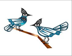 Two Jays ~ Fred Croydon, Haida Point Art bird theme 1 one of tricia's faves