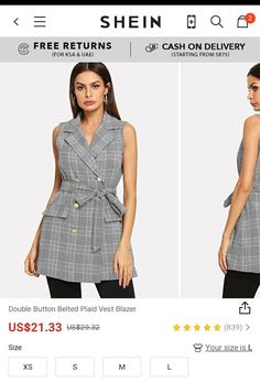 Buy SHEIN WOMEN Double Button Belted Plaid Vest Blazer  Use promocode: SADCA15 to get extra 15% discount
