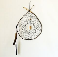 Unique Dream Catcher - Home Decor - Stone Beads - Tribal Pattern - Feathers - Wall ornament. $20.00, via Etsy.