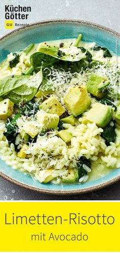 Limetten-Avocado-Risotto Limetten-Avocado-Risotto Simply Gesund simplygesund Rezepte Das hellgr ne Risotto ist nicht nur ein Genuss f r die Augen sondern nat rlich auch f r nbsp hellip Nature Green, Plats Healthy, Avocado Dessert, Avocado Toast, Tofu, Vegetarian Recipes, Dinner Recipes, Veggies, Food And Drink