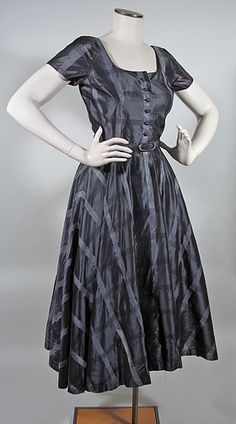Vintage 1950s Charcoal, Silver and Black New Look Party Dress