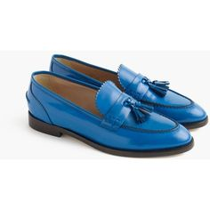 J.Crew Biella Tassel Loafers ($375) ❤ liked on Polyvore featuring shoes, loafers, tassel loafers, j crew loafers, genuine leather shoes, loafers & moccasins and short heel shoes