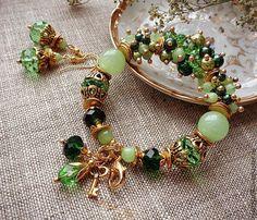 Купить браслет и серьги, коллекция РОМАНТИКА - салатовый, зеленый, зеленый браслет, зеленый камень, оникс