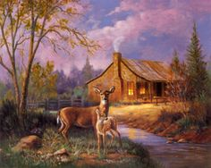 sunset at cabin with deer | Deer Near Cabin Posters by M. Caroselli at AllPosters.com