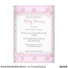 Pretty Pink Girl Baby Shower Floral Umbrella Blond 5x7 Paper Invitation Card