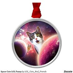 Space Cats LOL Funny Round Metal Christmas Ornament