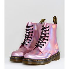 Dr Martens Leather Holographic Pink Lace Up Boots ($180) ❤ liked on Polyvore featuring shoes, boots, strappy boots, laced boots, slip resistant shoes, genuine leather boots and leather boots