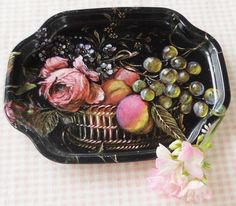 Black Tole Painted Roses Metal Tray