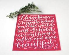 Holiday Print // Hand Lettered Christmas Quote, Norman Vincent Peale, Modern Calligraphy, White on Cranberry Red, 8 x 10