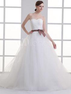 Sweetheart Neck Strapless Sash Net Bridal Wedding Gown - Milanoo.com