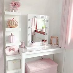 Doesnt jadiespinkbliss dressing room featuring our Julia Hollywood Mirror look pretty in pink Makeup Mirror with Lights Dressing Table Mirror with Lights Vanity Mirror with Lights Illuminated Makeup Mirror Light Up Makeup Mirror Hollywood Mirrors Lights Around Mirror, Makeup Mirror With Lights, Cute Room Decor, Room Decor Bedroom, Mirror Bedroom, Ikea Bedroom, Master Bedroom, Bedroom Furniture, Cozy Bedroom