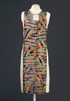 1925-28. Sonia Delaunay. France. Printed silk satin with metallic embroidery.