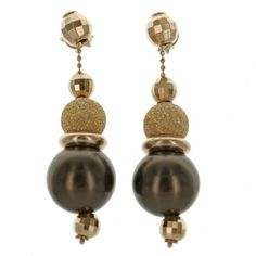 Sterling Silver & Rose Gold Chocolate Pearl Sparkle Beaded Drop Earrings - Fire & Ice
