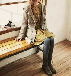 *Love* the spots and the sulphur colour Beautiful Wife, Beautiful Outfits, Cool Outfits, Fashion Outfits, Beautiful Clothes, Moda Hipster, Tan Cardigan, Whimsical Fashion, Mori Girl