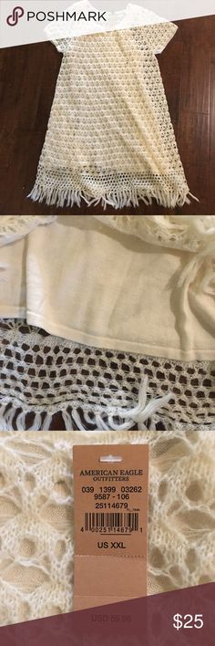 NWT American Eagle cream crochet dress Gorgeous short sleeve dress! The slip dress underneath has tank sleeves and is a light sweater material American Eagle Outfitters Dresses