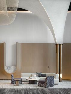 Hotel Room Design, Lobby Design, H Design, Wall Design, Lobby Interior, Interior Architecture, Commercial Design, Commercial Interiors, Modern Interior Design