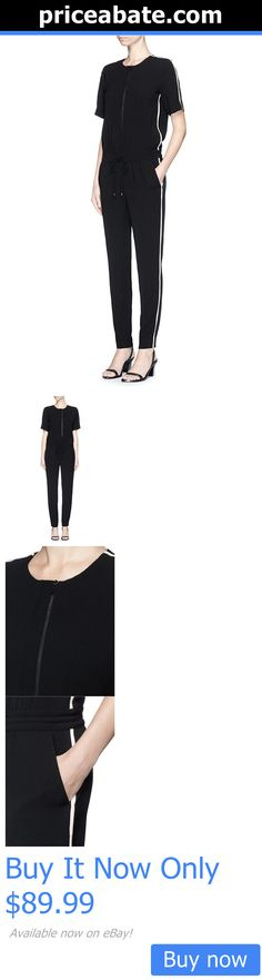 Jumpsuits And Rompers: Nwt $425 Vince Black Crepe Contrast White Trim Jumpsuit - Size 8 (M Medium) BUY IT NOW ONLY: $89.99 #priceabateJumpsuitsAndRompers OR #priceabate